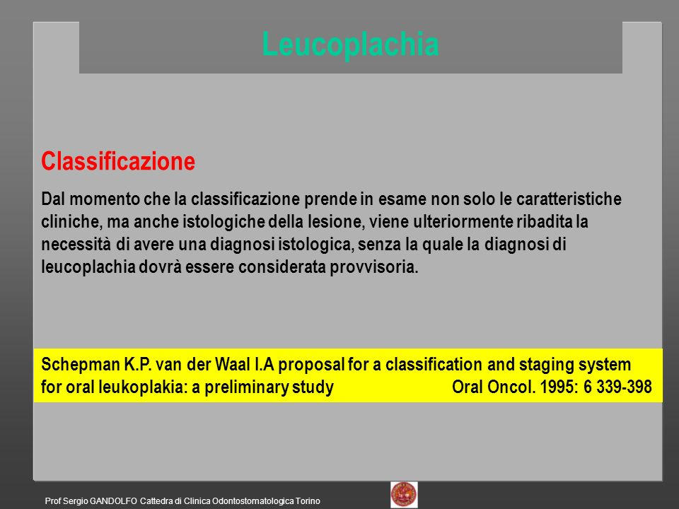 Leucoplachia Classificazione