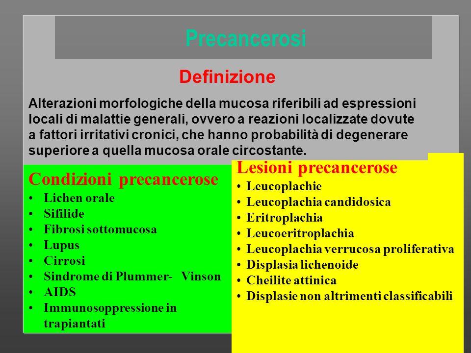 Precancerosi Lesioni precancerose Condizioni precancerose Definizione