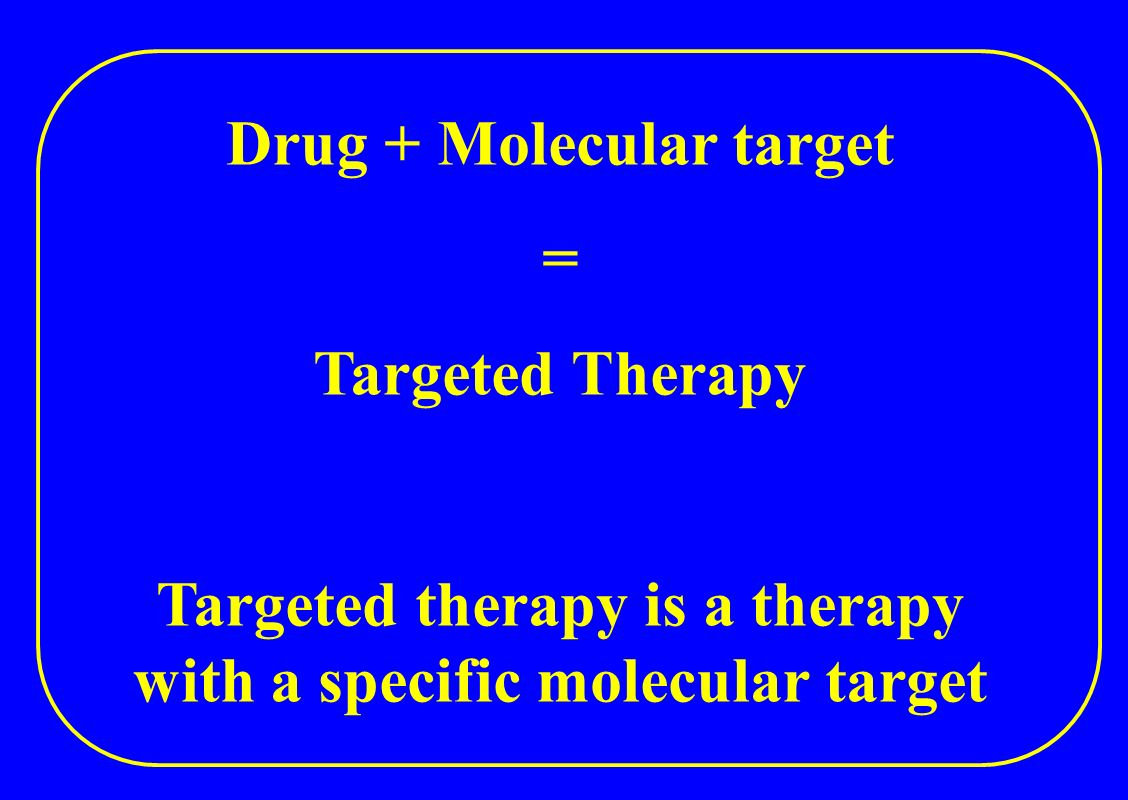 Drug + Molecular target = Targeted Therapy