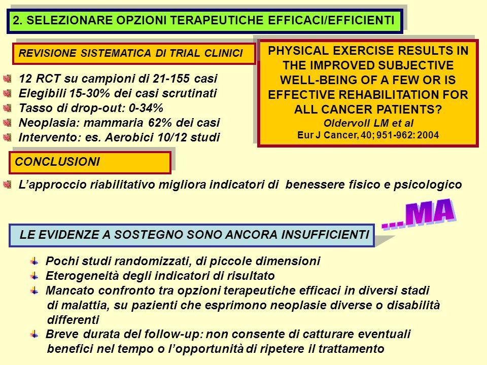...MA 2. SELEZIONARE OPZIONI TERAPEUTICHE EFFICACI/EFFICIENTI
