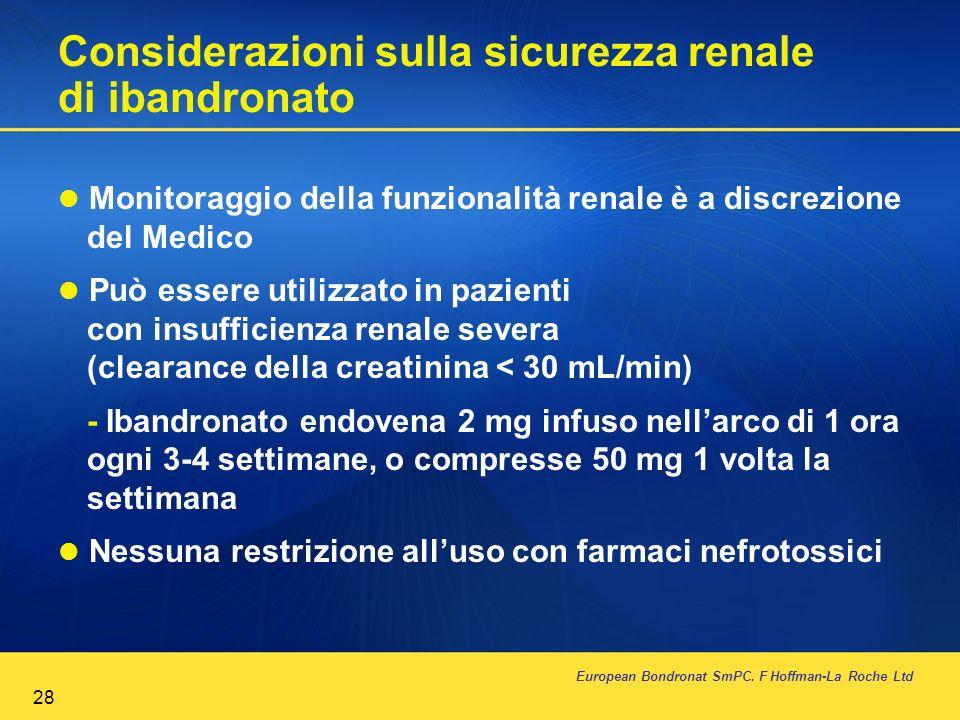 Considerazioni sulla sicurezza renale di ibandronato