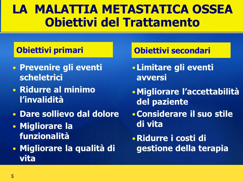 LA MALATTIA METASTATICA OSSEA Obiettivi del Trattamento