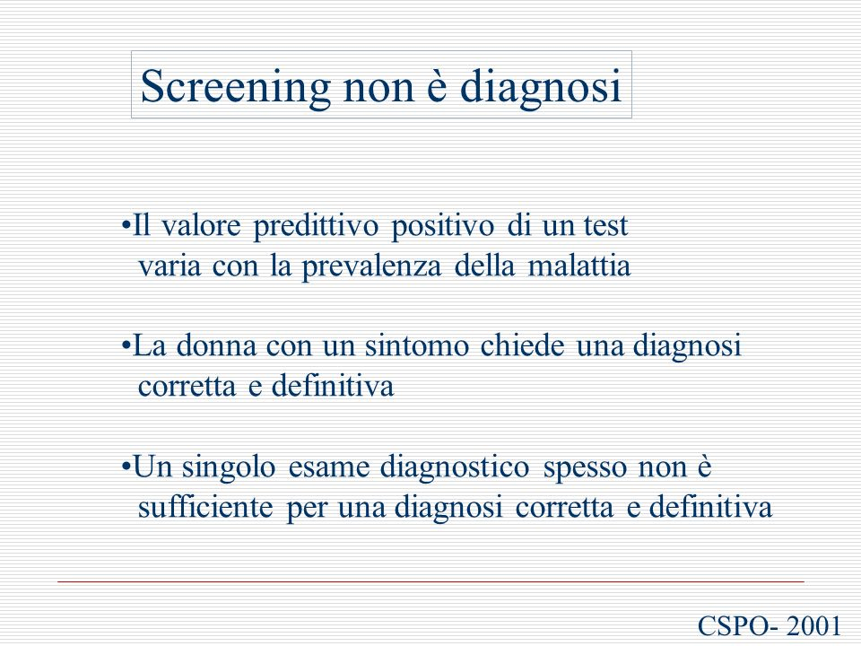 Screening non è diagnosi