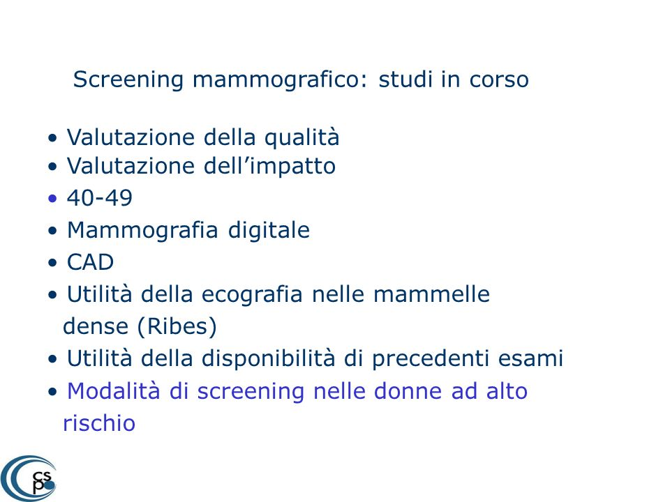 Screening mammografico: studi in corso