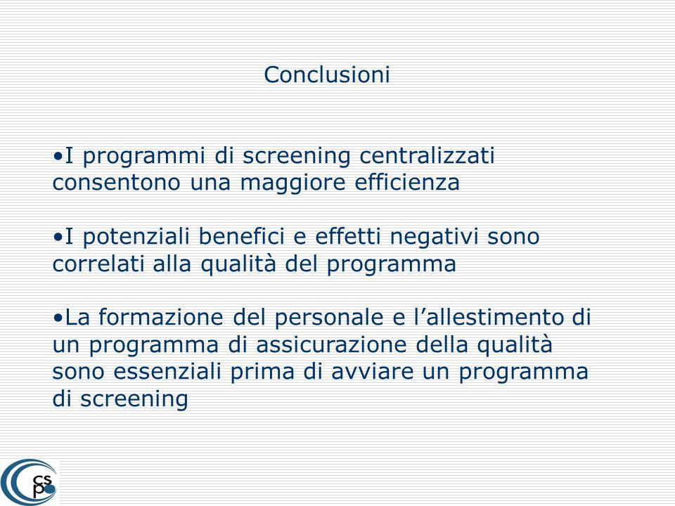 Conclusioni I programmi di screening centralizzati consentono una maggiore efficienza.