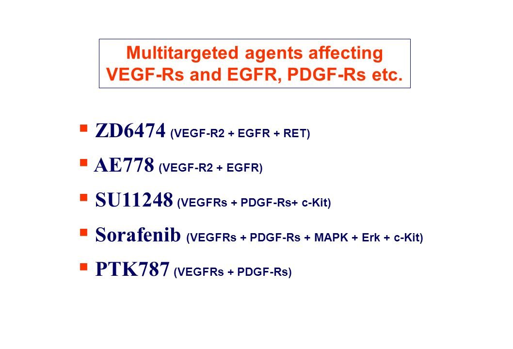 Multitargeted agents affecting VEGF-Rs and EGFR, PDGF-Rs etc.
