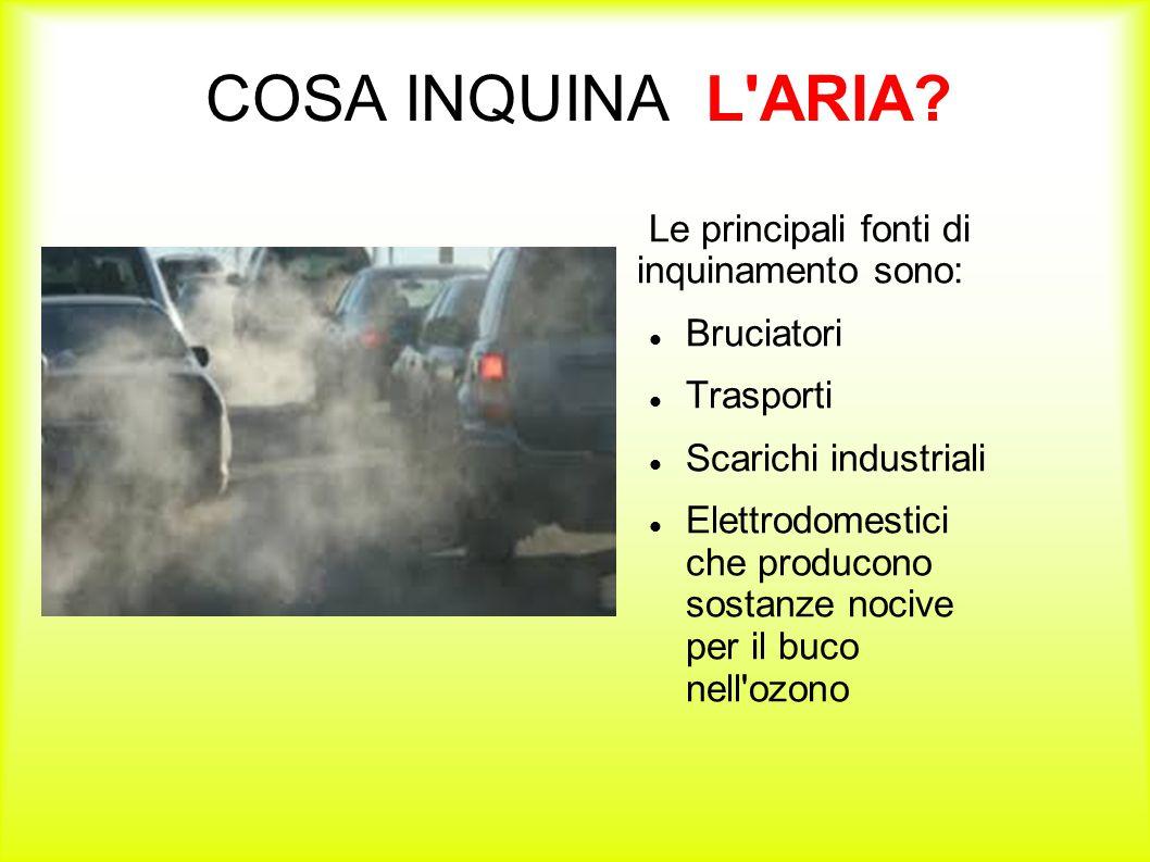COSA INQUINA L ARIA Le principali fonti di inquinamento sono:
