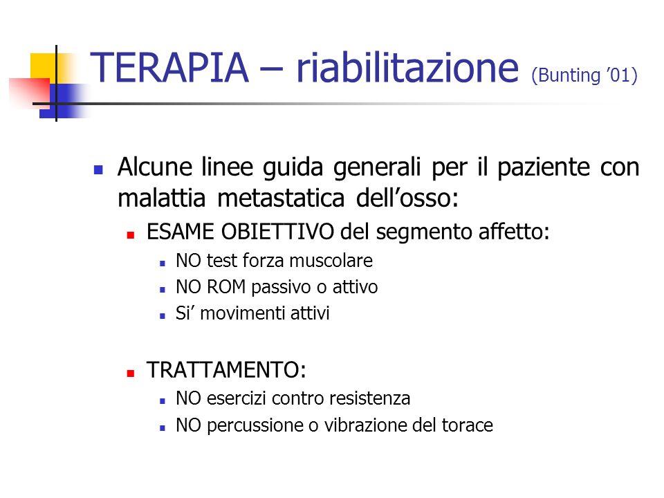 TERAPIA – riabilitazione (Bunting '01)