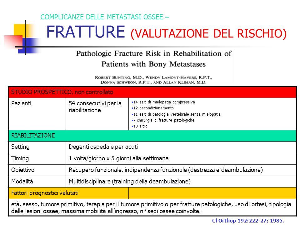 COMPLICANZE DELLE METASTASI OSSEE – FRATTURE (VALUTAZIONE DEL RISCHIO)