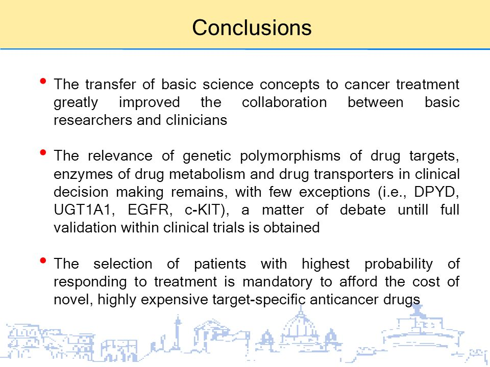Conclusions The transfer of basic science concepts to cancer treatment greatly improved the collaboration between basic researchers and clinicians.