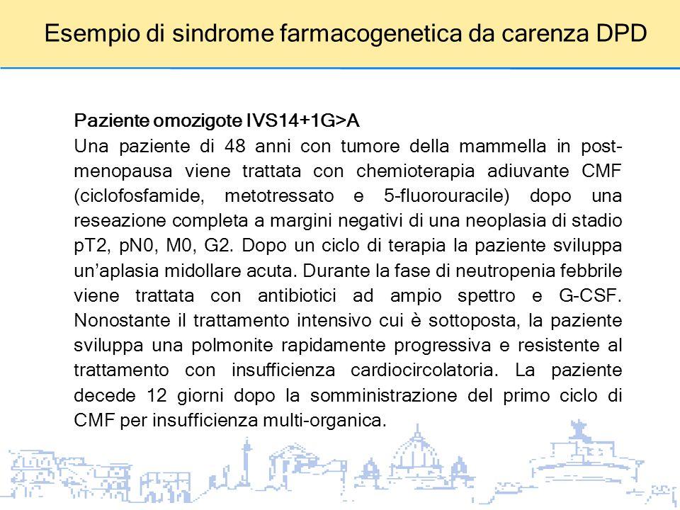 Esempio di sindrome farmacogenetica da carenza DPD