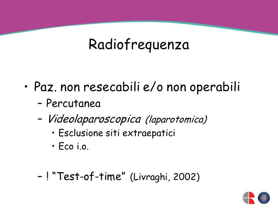 Radiofrequenza Paz. non resecabili e/o non operabili Percutanea