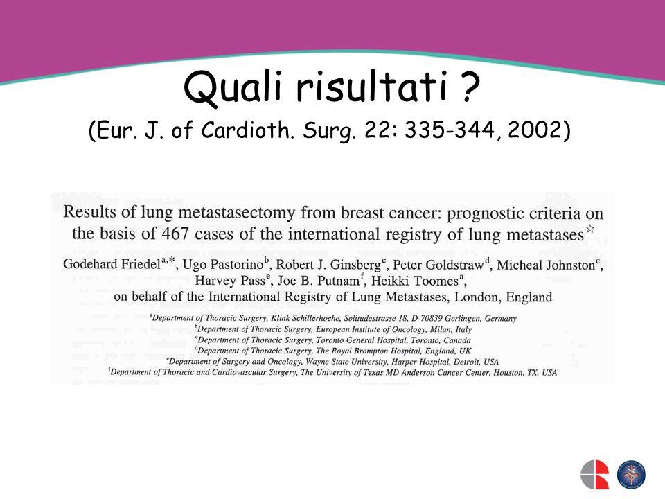 Quali risultati (Eur. J. of Cardioth. Surg. 22: 335-344, 2002)