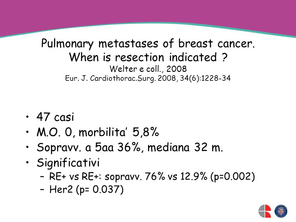 Pulmonary metastases of breast cancer. When is resection indicated
