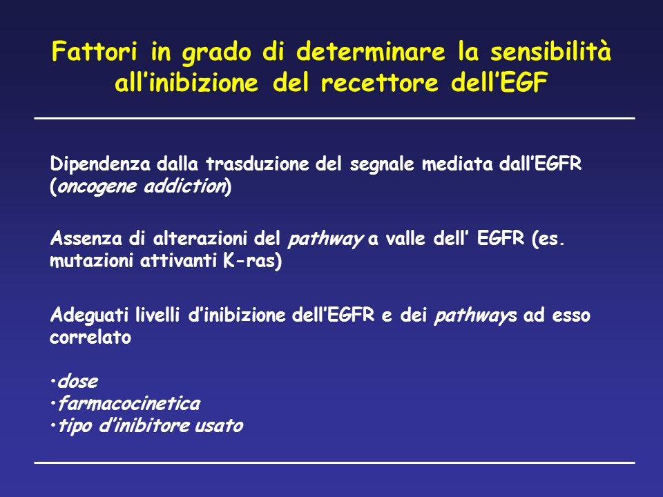 Fattori in grado di determinare la sensibilità all'inibizione del recettore dell'EGF