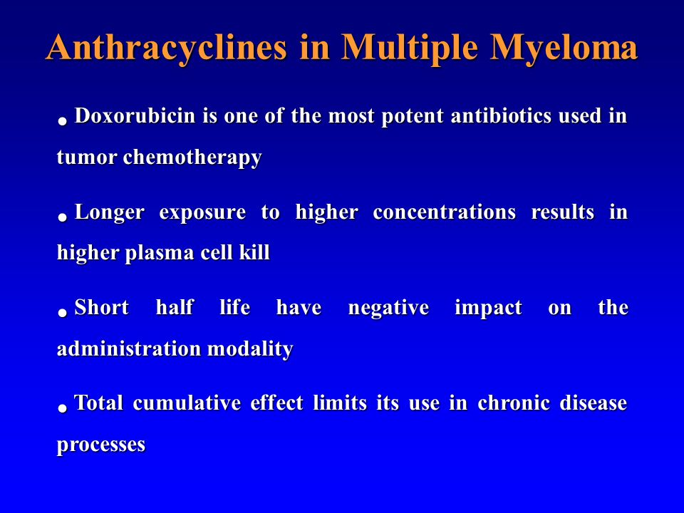 Anthracyclines in Multiple Myeloma