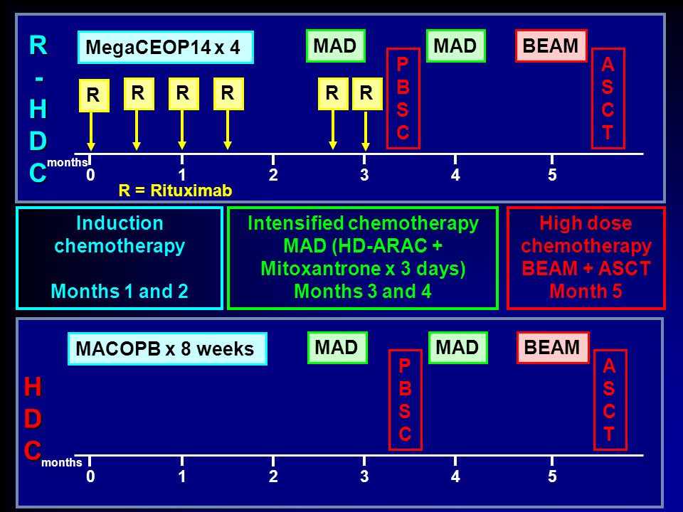 R-HDC HDC R MegaCEOP14 x 4 MAD BEAM PBSC ASCT Induction chemotherapy