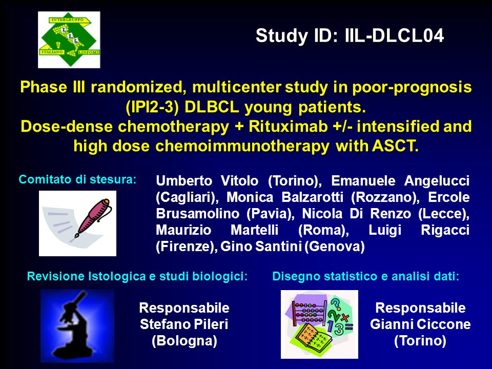 Study ID: IIL-DLCL04 Phase III randomized, multicenter study in poor-prognosis (IPI2-3) DLBCL young patients.
