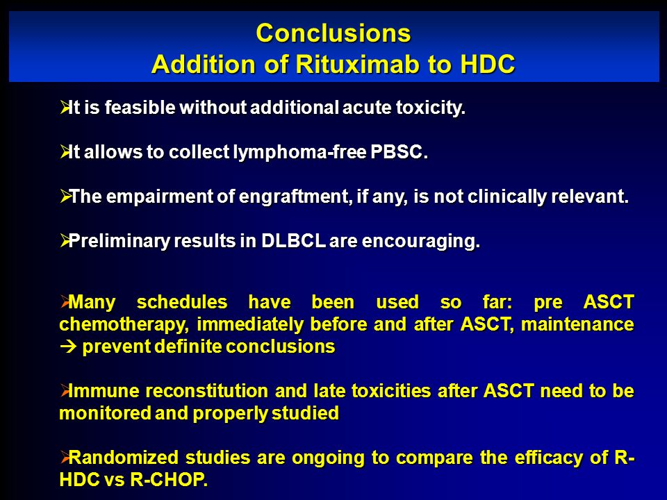 Conclusions Addition of Rituximab to HDC