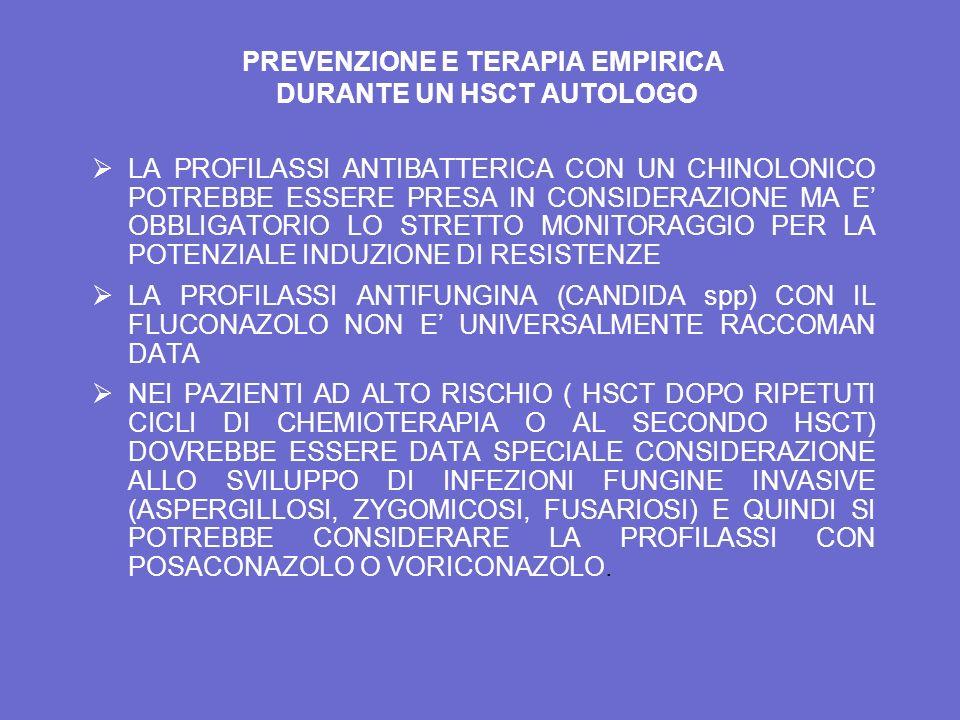 PREVENZIONE E TERAPIA EMPIRICA DURANTE UN HSCT AUTOLOGO