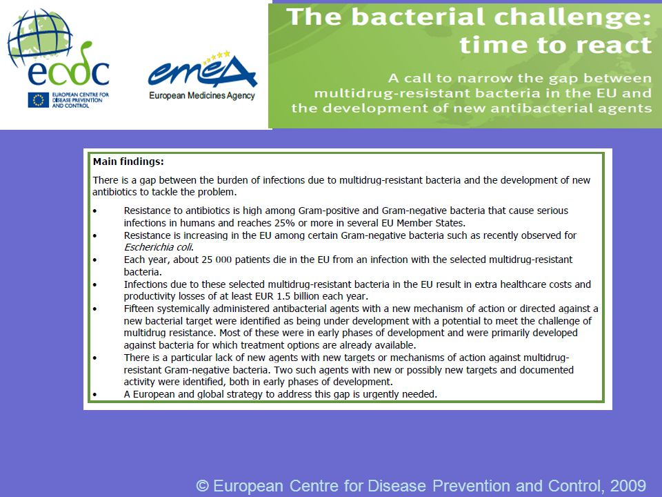© European Centre for Disease Prevention and Control, 2009