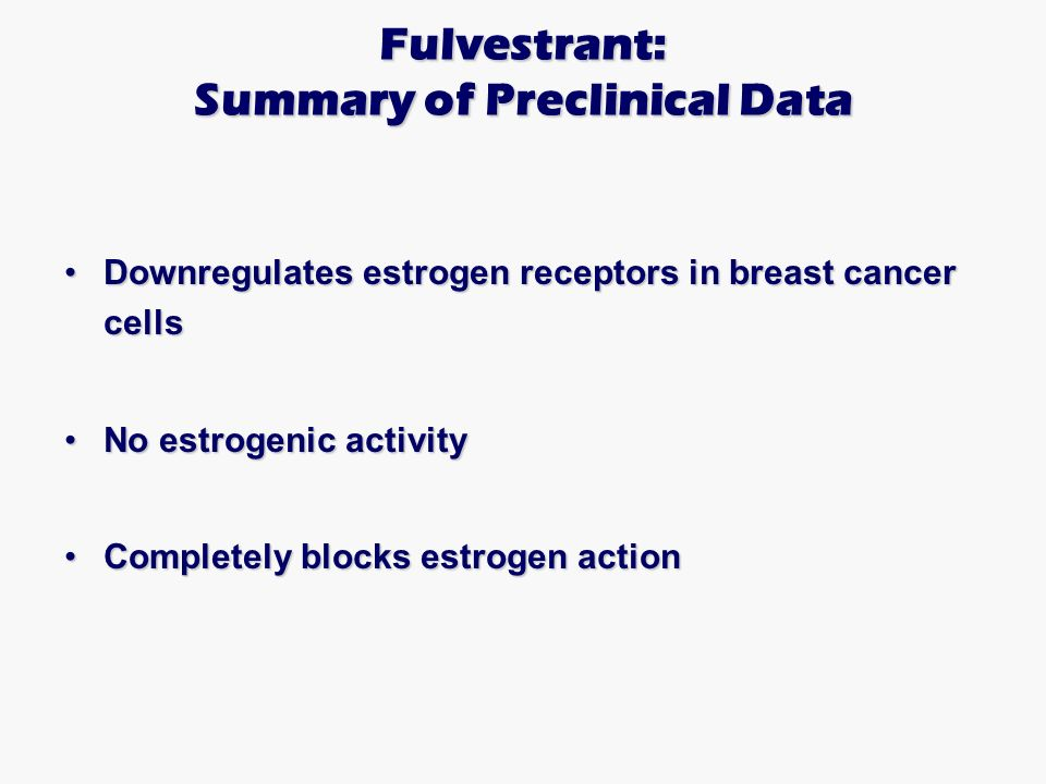 Fulvestrant: Summary of Preclinical Data