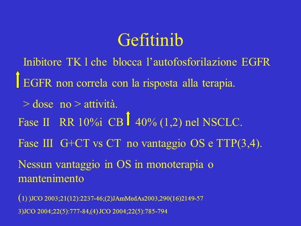 Gefitinib Inibitore TK l che blocca l'autofosforilazione EGFR