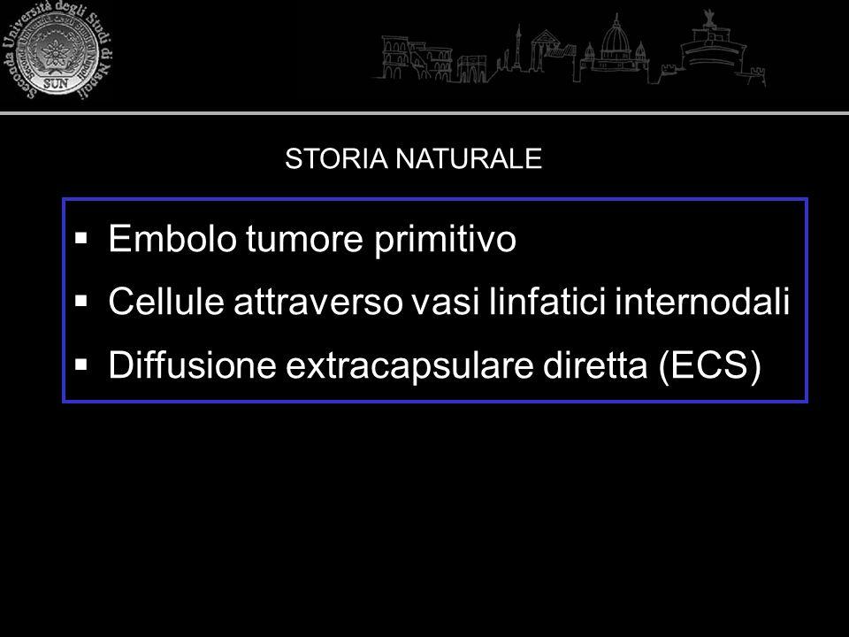 Embolo tumore primitivo Cellule attraverso vasi linfatici internodali