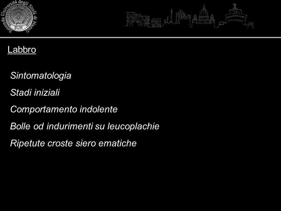Labbro Sintomatologia. Stadi iniziali. Comportamento indolente. Bolle od indurimenti su leucoplachie.