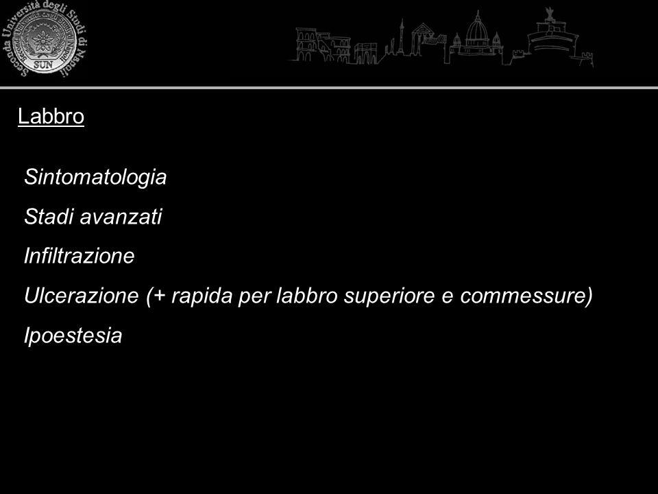 Labbro Sintomatologia. Stadi avanzati. Infiltrazione. Ulcerazione (+ rapida per labbro superiore e commessure)
