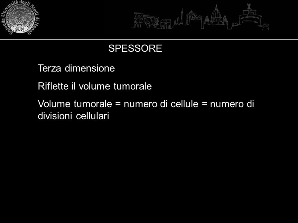 SPESSORE Terza dimensione. Riflette il volume tumorale.