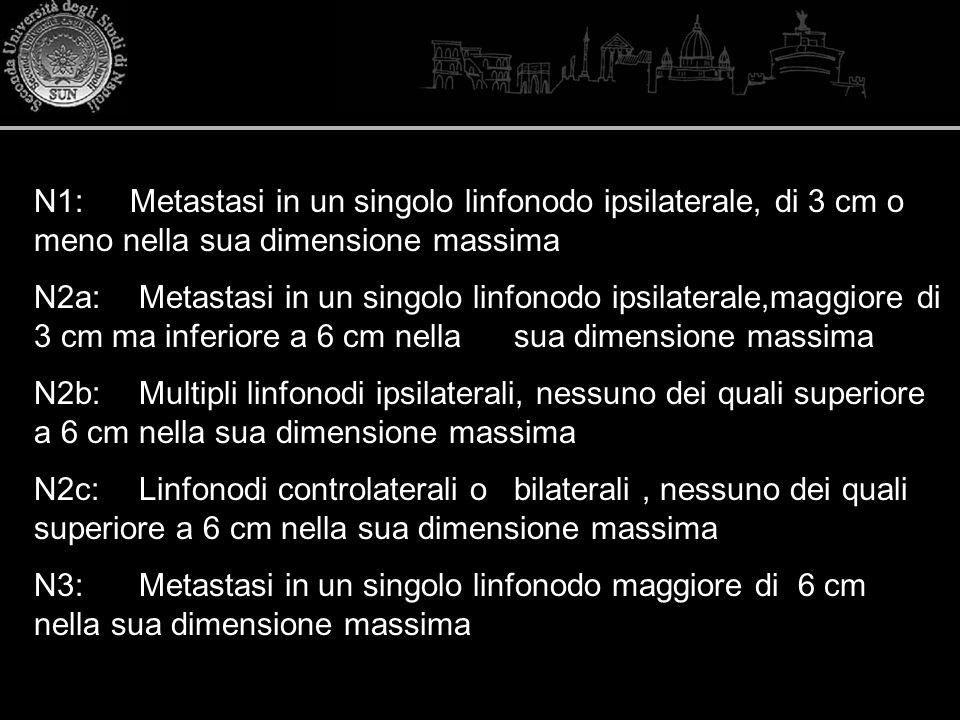 N1: Metastasi in un singolo linfonodo ipsilaterale, di 3 cm o meno nella sua dimensione massima