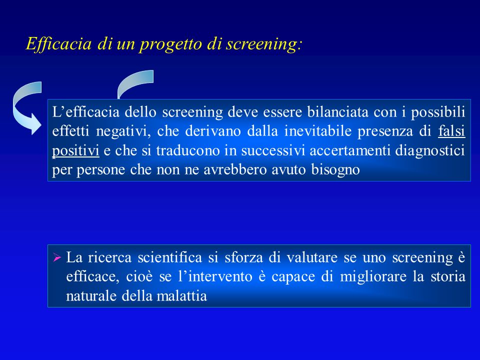 Efficacia di un progetto di screening: