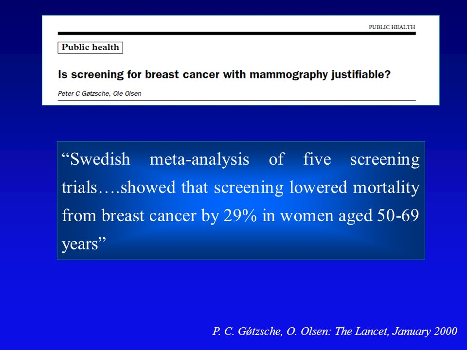 Swedish meta-analysis of five screening trials…