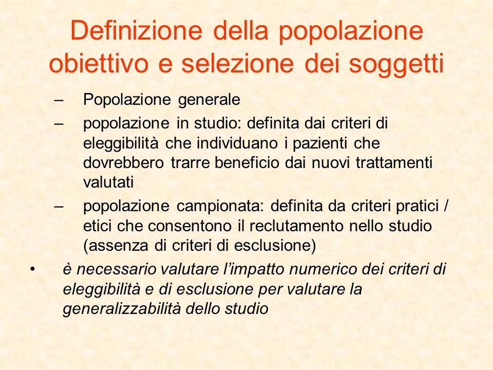 Definizione della popolazione obiettivo e selezione dei soggetti