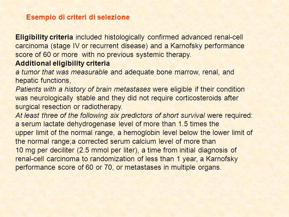 Esempio di criteri di selezione
