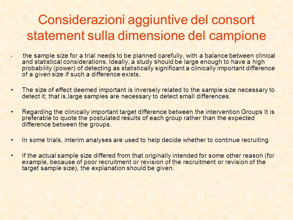 Considerazioni aggiuntive del consort statement sulla dimensione del campione