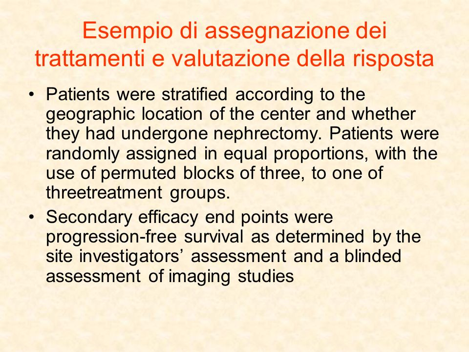 Esempio di assegnazione dei trattamenti e valutazione della risposta