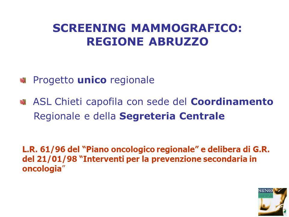 SCREENING MAMMOGRAFICO: