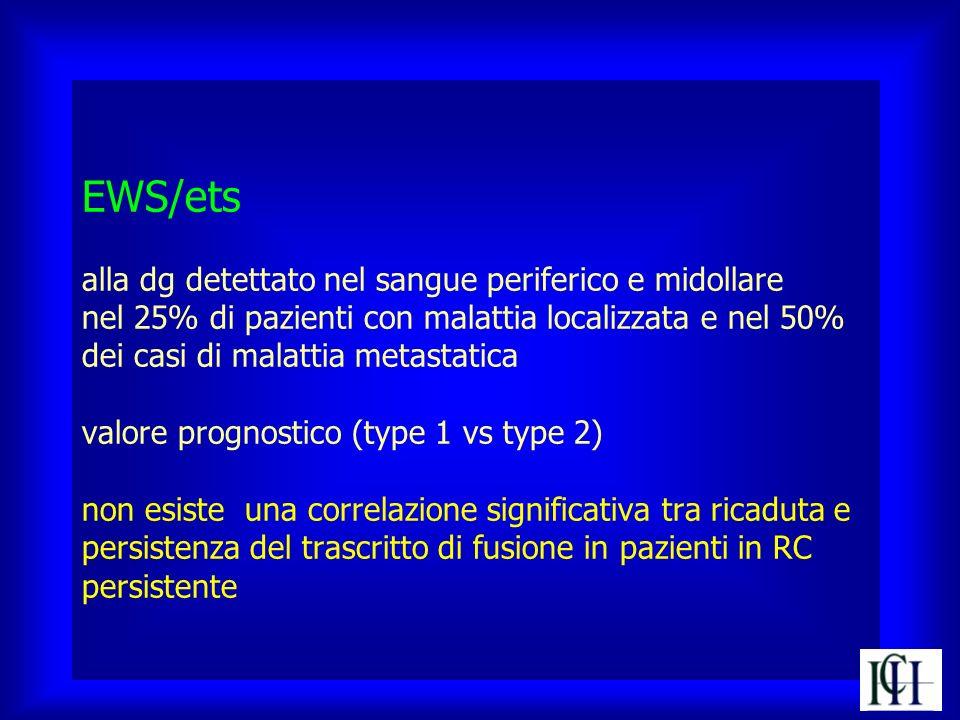 EWS/ets alla dg detettato nel sangue periferico e midollare nel 25% di pazienti con malattia localizzata e nel 50% dei casi di malattia metastatica valore prognostico (type 1 vs type 2) non esiste una correlazione significativa tra ricaduta e persistenza del trascritto di fusione in pazienti in RC persistente