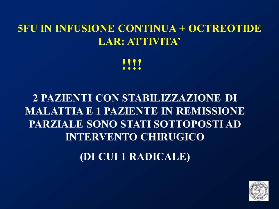 5FU IN INFUSIONE CONTINUA + OCTREOTIDE LAR: ATTIVITA'
