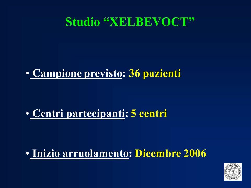 Studio XELBEVOCT Campione previsto: 36 pazienti.Centri partecipanti: 5 centri.
