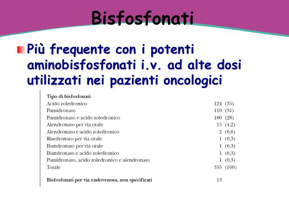 Bisfosfonati Più frequente con i potenti aminobisfosfonati i.v.