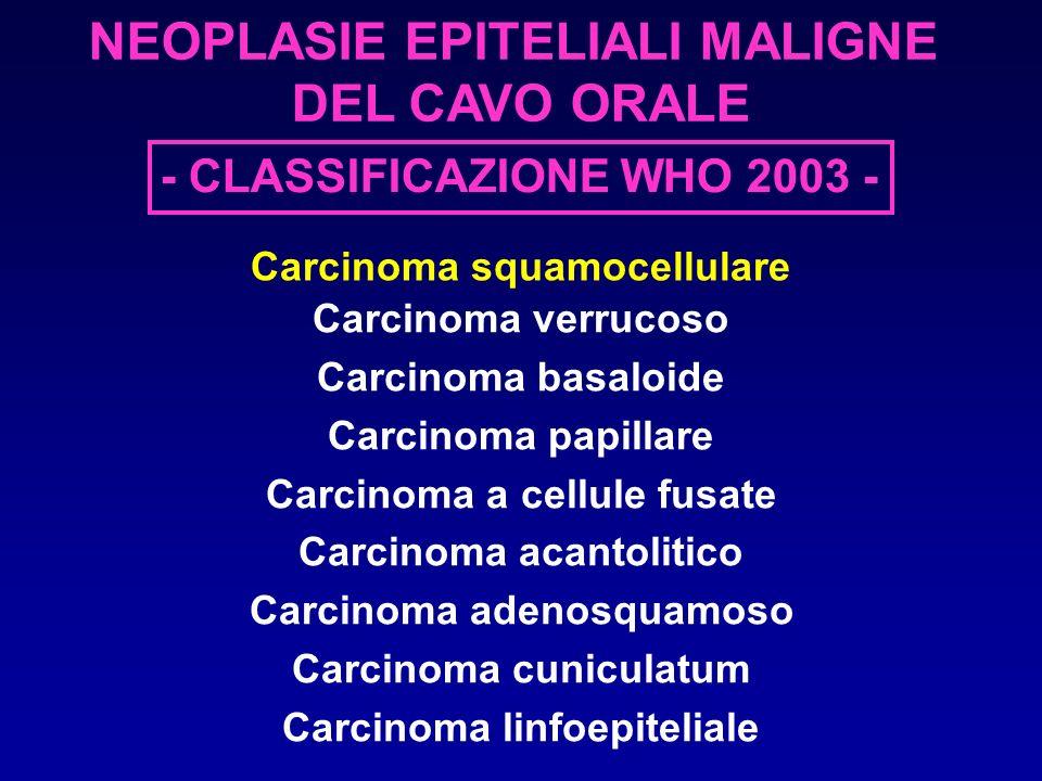 NEOPLASIE EPITELIALI MALIGNE DEL CAVO ORALE