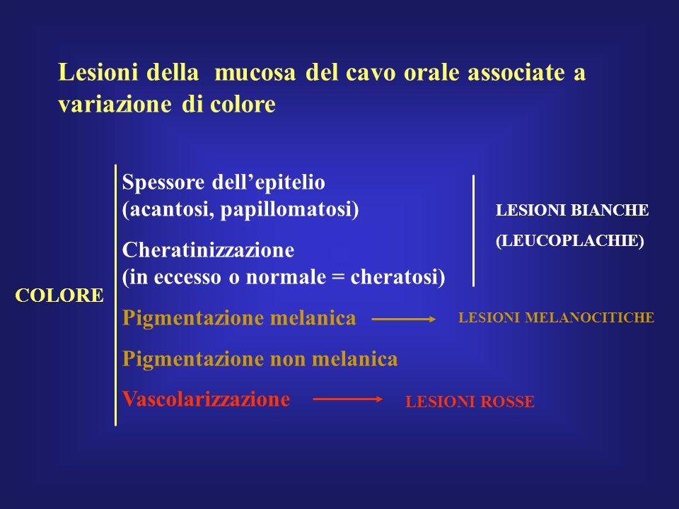 Lesioni della mucosa del cavo orale associate a variazione di colore