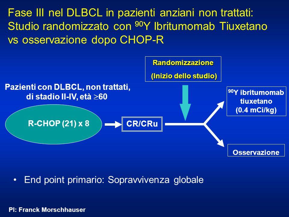 Fase III nel DLBCL in pazienti anziani non trattati: Studio randomizzato con 90Y Ibritumomab Tiuxetano vs osservazione dopo CHOP-R