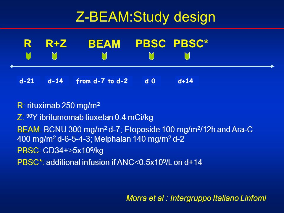 Z-BEAM:Study design R R+Z BEAM PBSC PBSC* R: rituximab 250 mg/m2