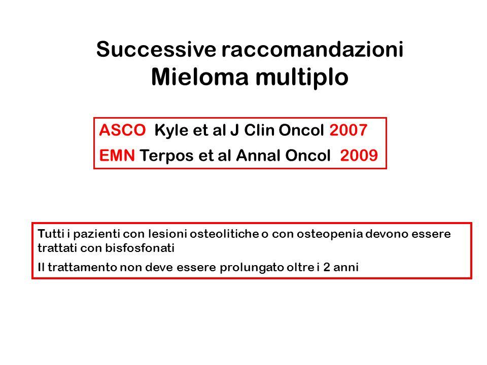 Successive raccomandazioni Mieloma multiplo
