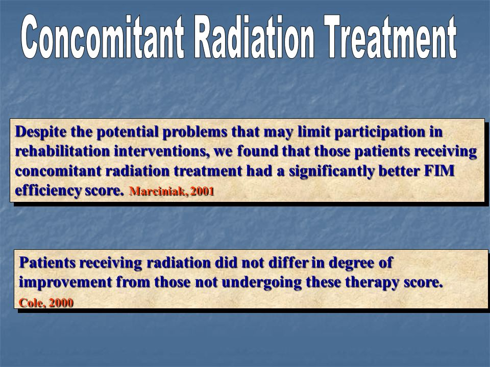 Concomitant Radiation Treatment