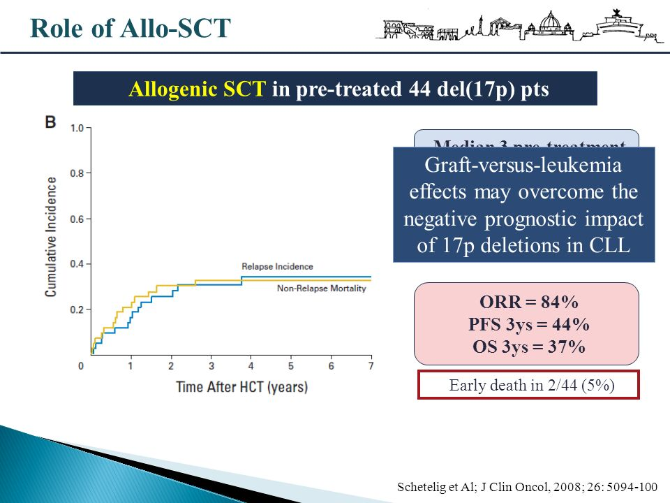 Allogenic SCT in pre-treated 44 del(17p) pts